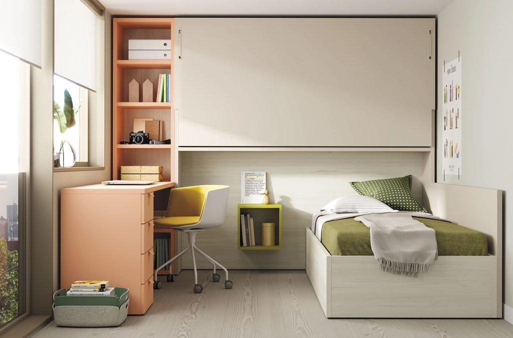 Cama abatible alta con una cama canapé inferior