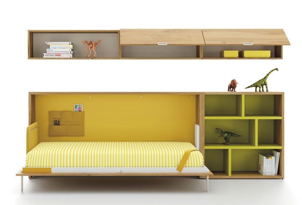 Cama abatible horizontal complementada con estanterías