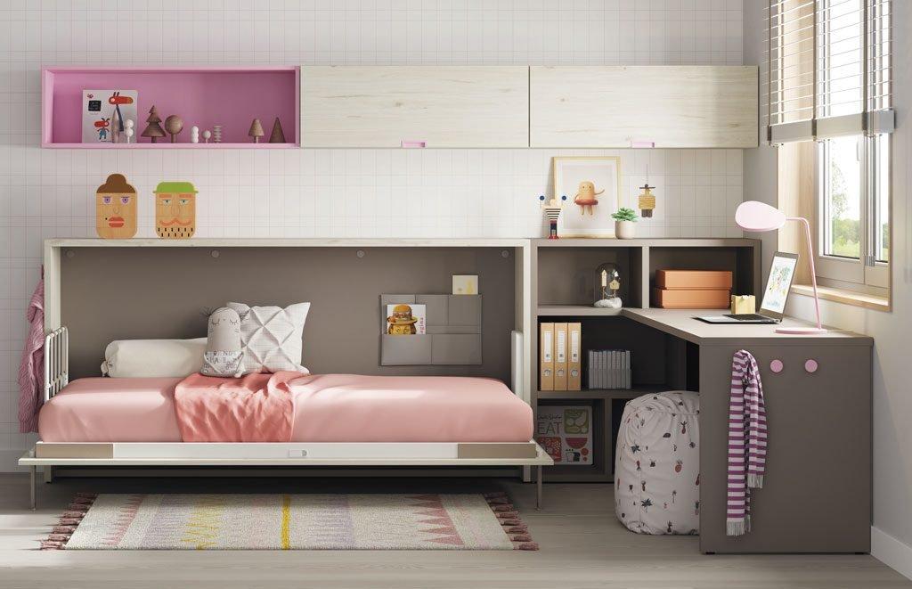 Cama abatible horizontal con estanterías y mesa estudio