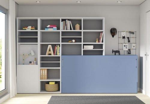Cama abatible horizontal con estanterías y mesa plegable