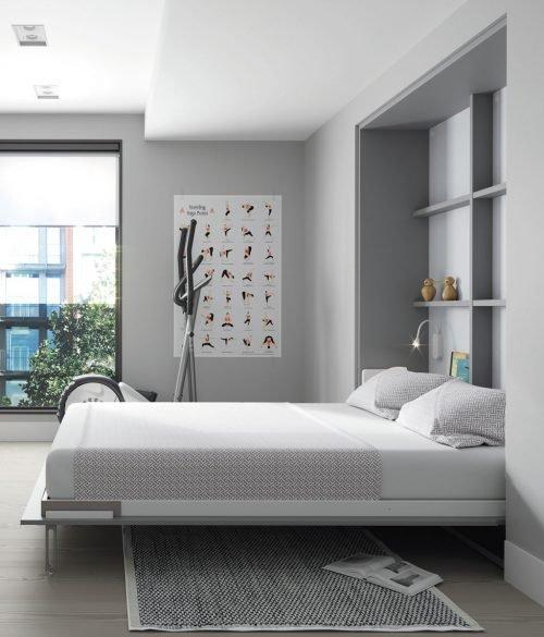 Cama plegable vertical empotrada abierta para habitaciones modernas