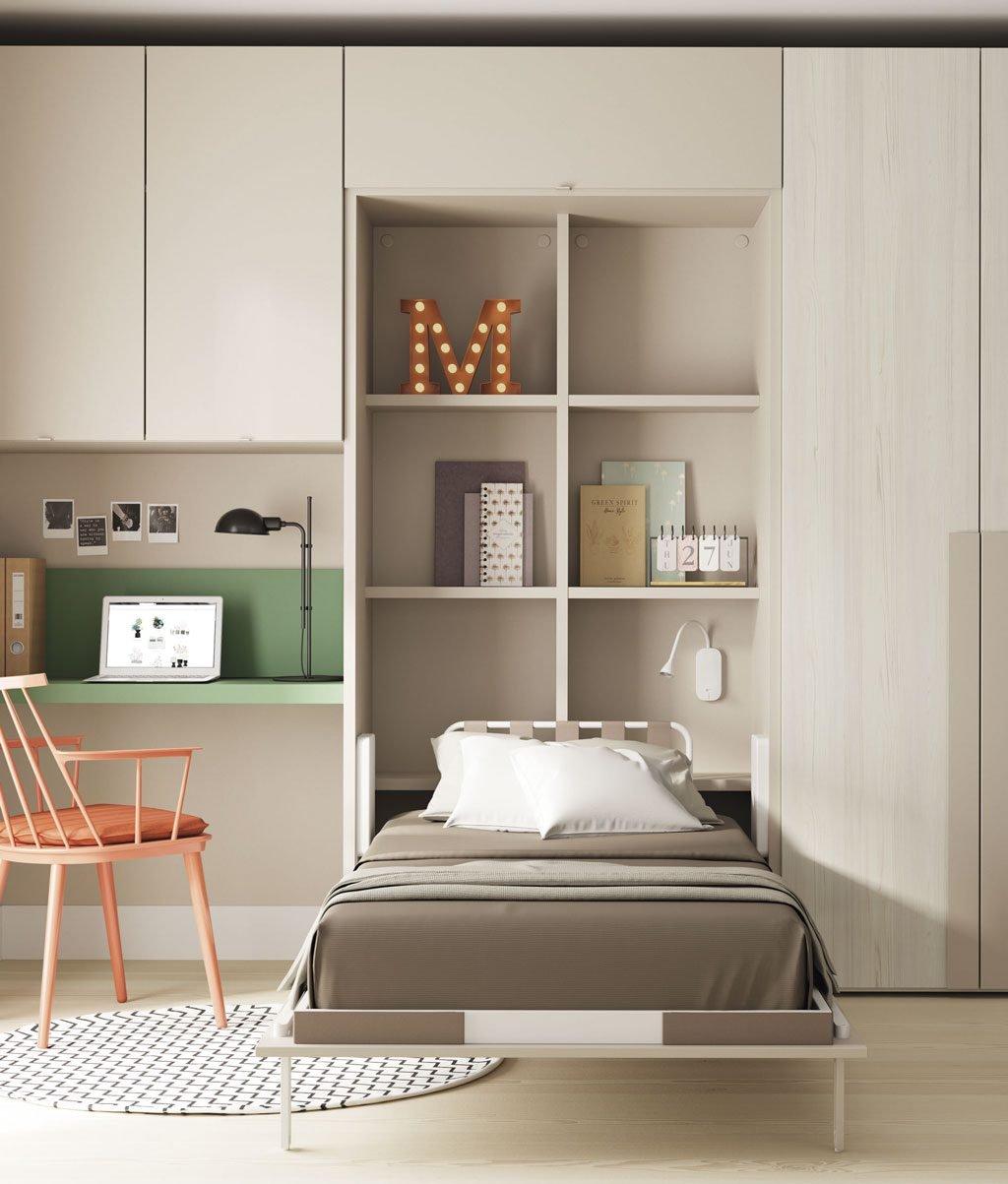 Detalle de la cama abatible vertical abierta para su uso