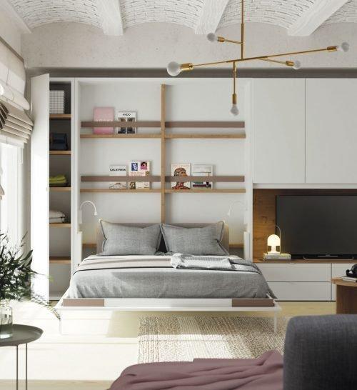 Cama plegable vertical abierta en un Loft reformado