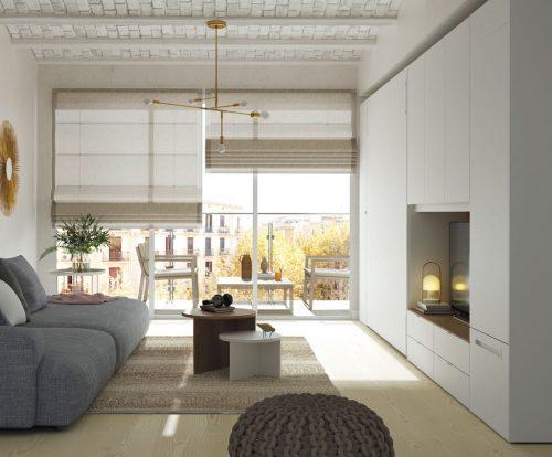 Cama plegable vertical integrada en los muebles de este Loft