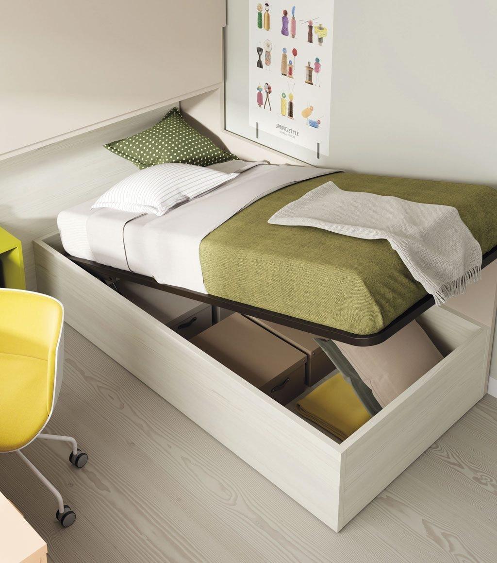 Cama canapé de gran capacidad abierta para ver su interior