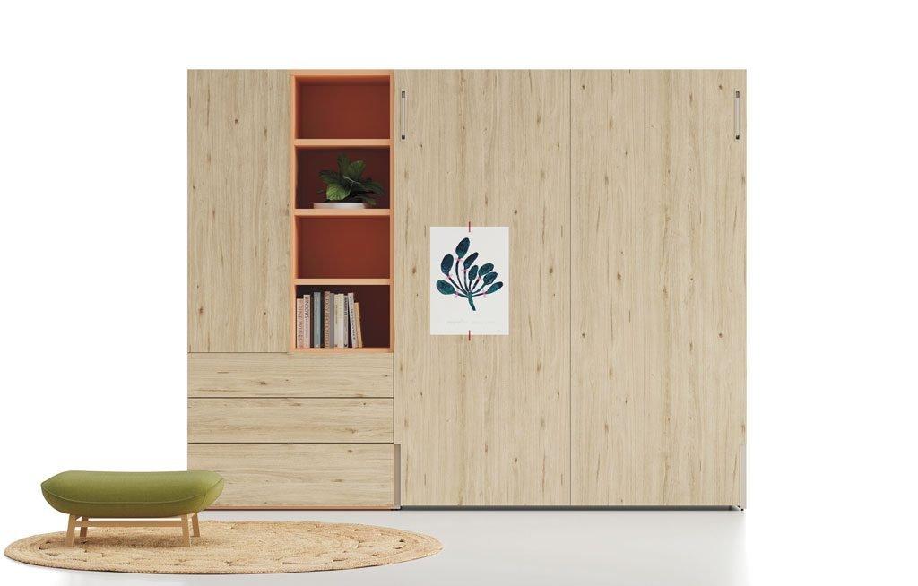 Composición con una cama abatible vertical en color Nórdico