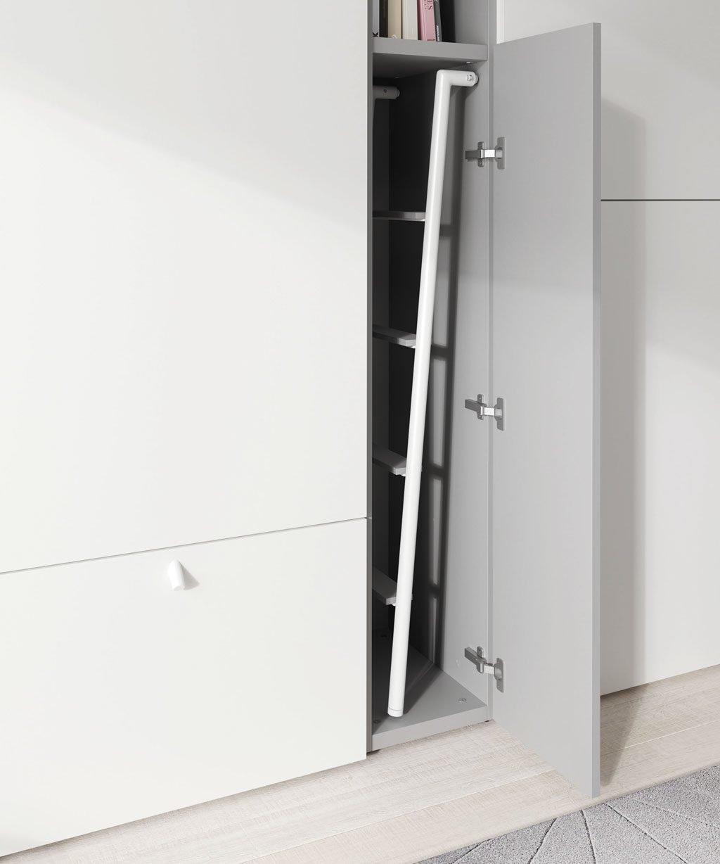 Detalle del hueco para guardar la escalera de la litera abatible