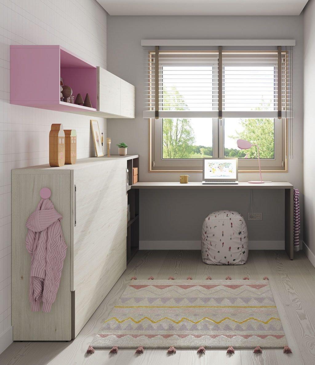 Detalle lateral de la habitación con la cama abatible horizontal