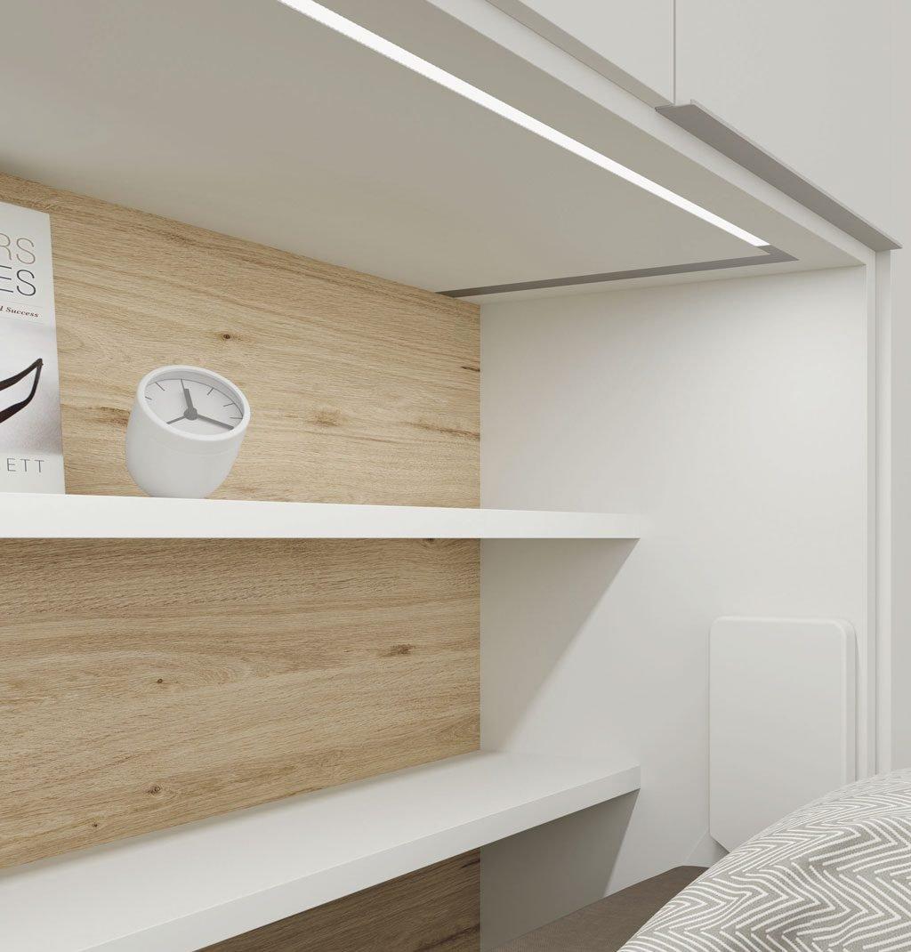 Detalle de la luz led integrada en la estructura de la cama abatible