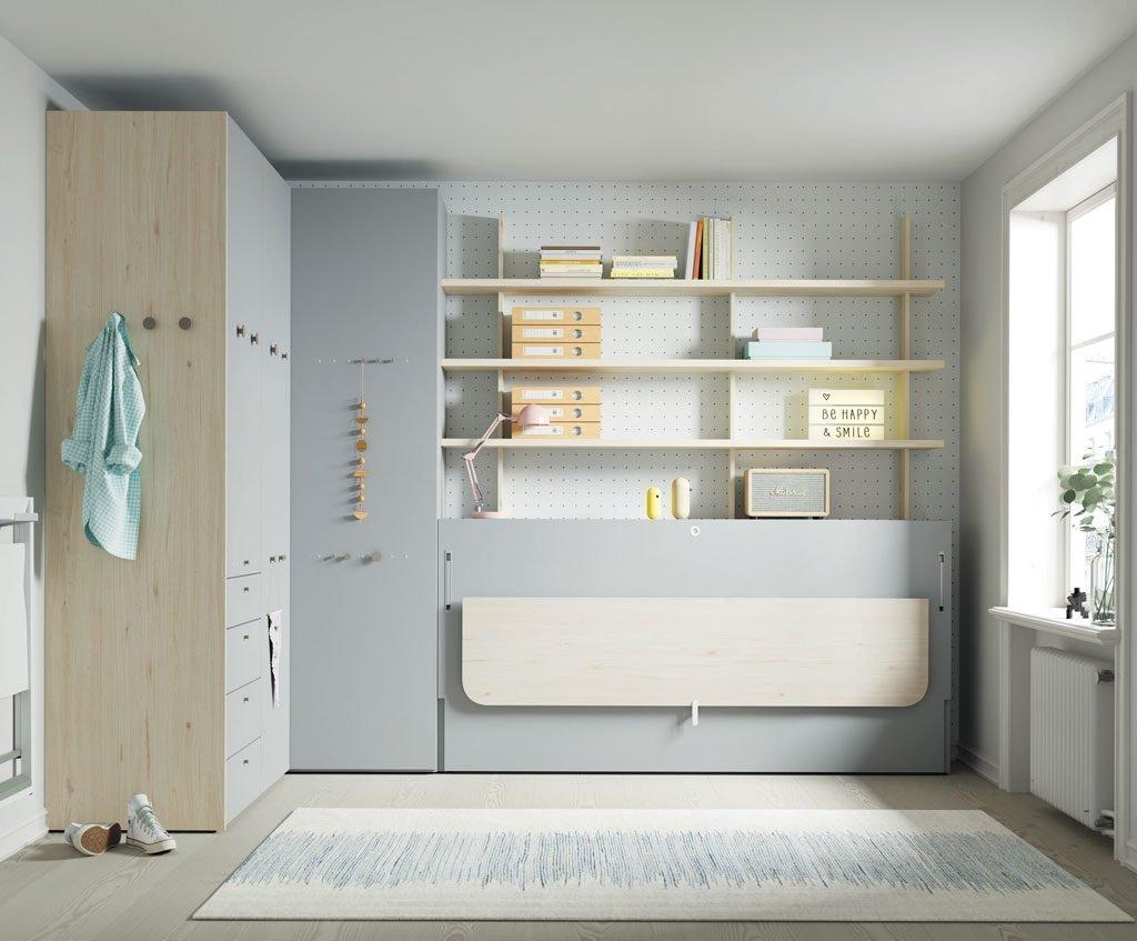 Dormitorio juvenil con cama abatible horizontal con mesa Flap