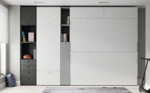 Litera abatible integrada con armarios, altillo y mesa plegable