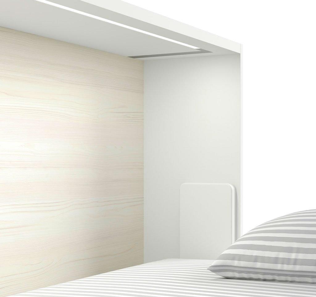 Luz led empotrada como complemento en la cama abatible
