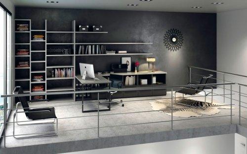 Muebles de home office en un espacio diáfano