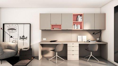 Muebles home office con zona de trabajo para dos personas