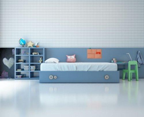 Cama del dormitorio infantil toda en color Aqua