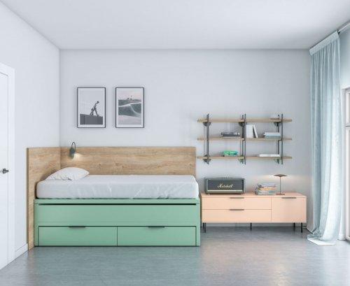 Cama dormitorio juvenil toda en color Veronese