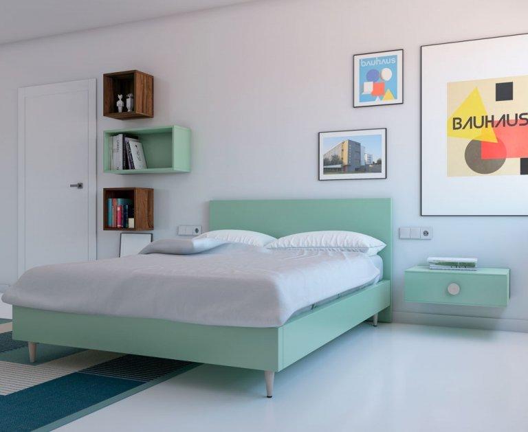Cama para el dormitorio toda en color Veronese