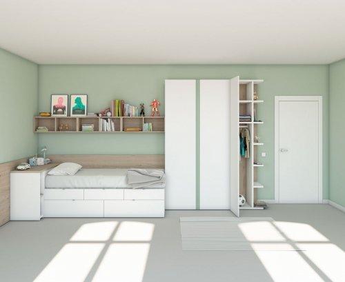 Composición juvenil con cama cajones y gran armario