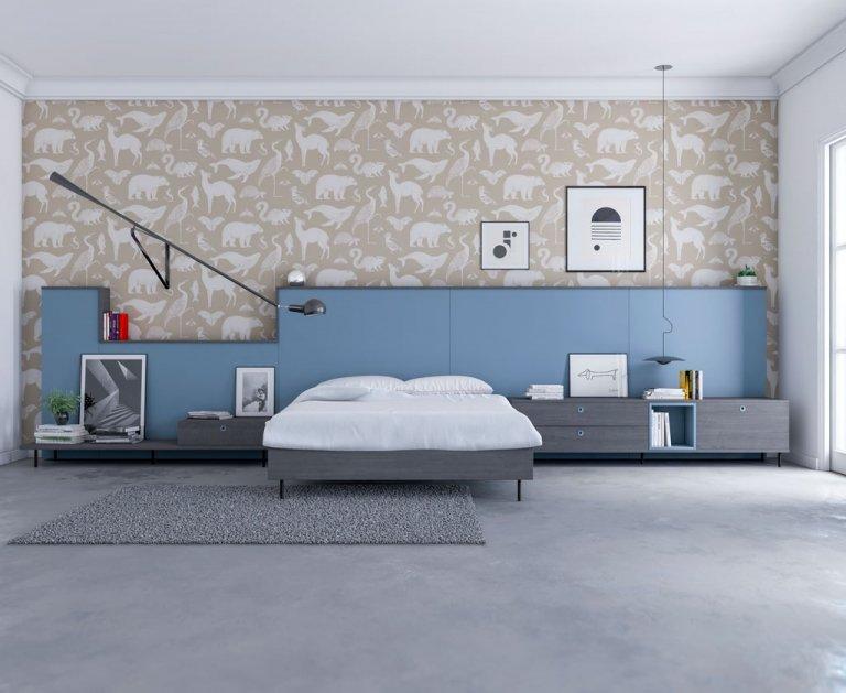 Composición de muebles dormitorio combinados color