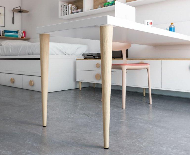 Detalle pata madera OSLO para mesa estudio