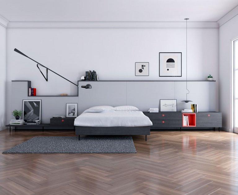 Diseño de un dormitorio con un gran cabecero que da estilo