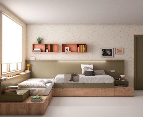 Dormitorio combinado en color Maya y Khaki