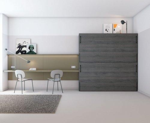 Dormitorio juvenil con cama abatible y escritorio para dos