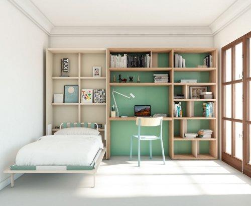 Dormitorio juvenil con cama abatible vertical abierta