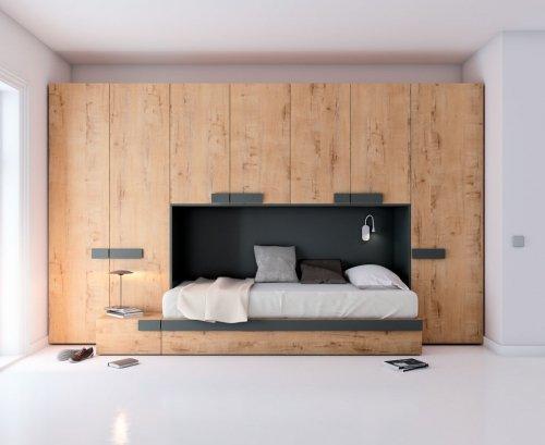 Dormitorio juvenil en color Forest con detalles Vulcano
