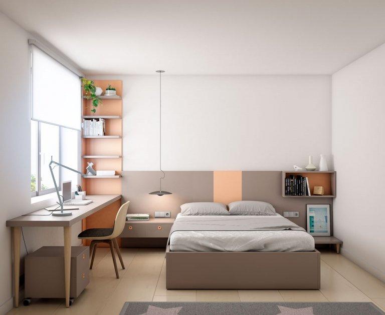 Dormitorio juvenil combinado en color Tortora y Nude
