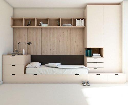 Dormitorio juvenil montado con cubos