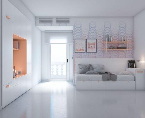 Habitación para adolescente con una cómoda cama
