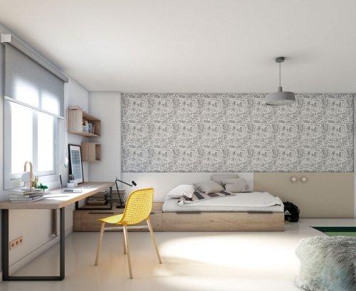 Habitación amplia con una gran zona estudio