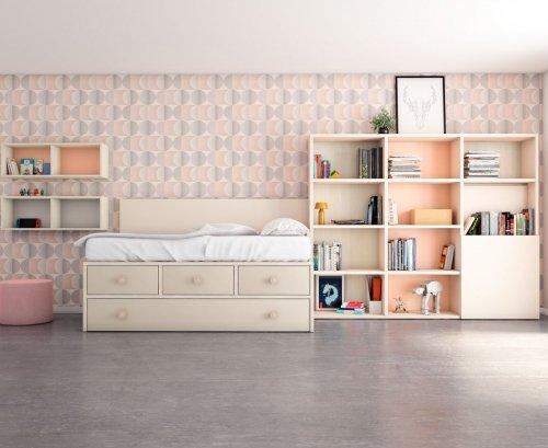 Habitación juvenil con una cama con cajones para organizar