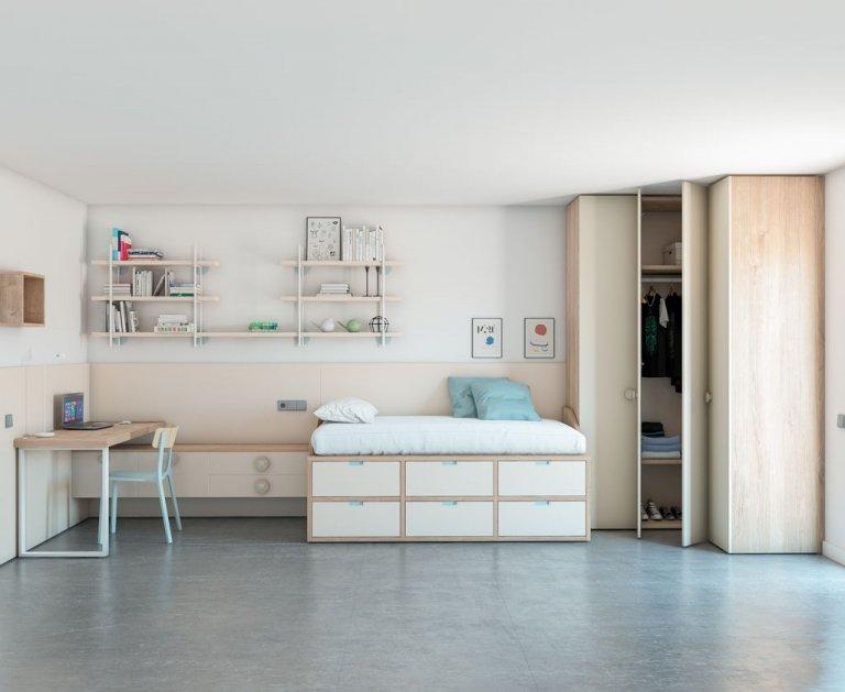 Habitación con cama block 6 cajones