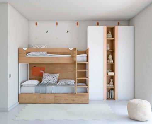 Litera de madera del dormitorio juvenil