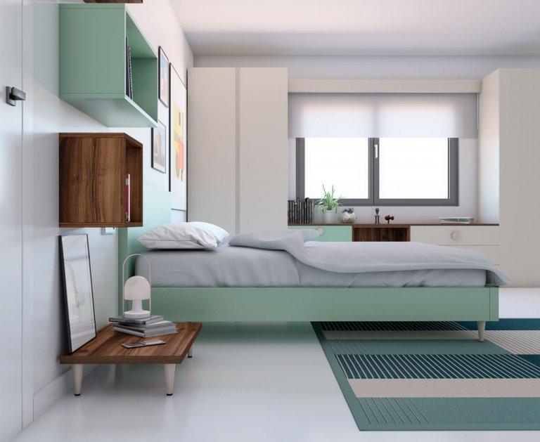 Mesita baja para cama con patas madera