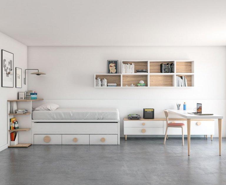 Moderna composición con dos camas