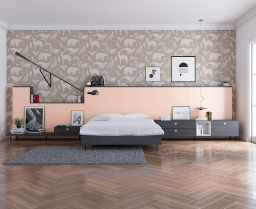 Muebles combinados en color Noir y Nude